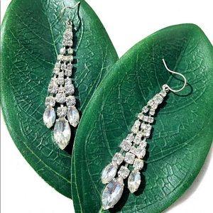 Swarovski Style Crystals Drooping Earrings